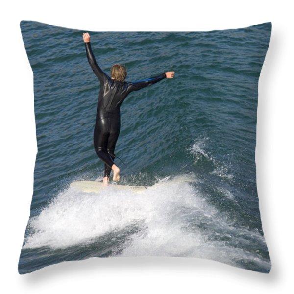 A Man Surfs A Longboard At Refugio Throw Pillow by Rich Reid