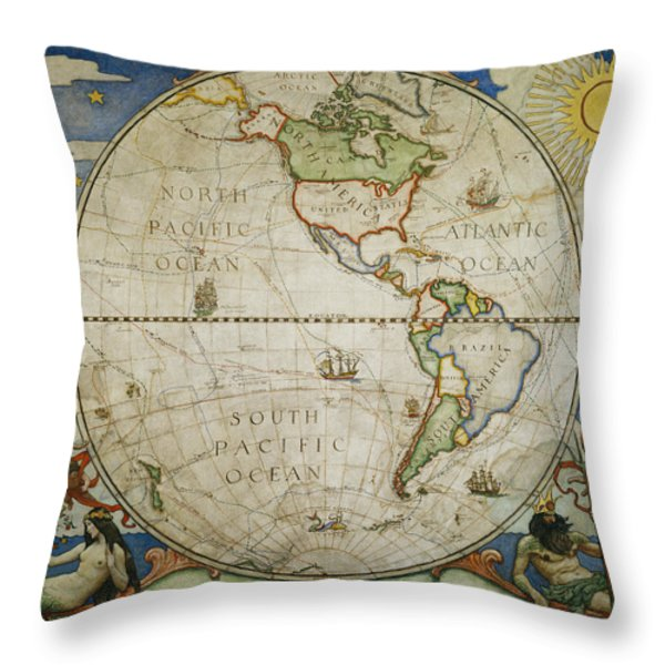 A map of the western Throw Pillow by VICTOR R. BOSWELL, JR