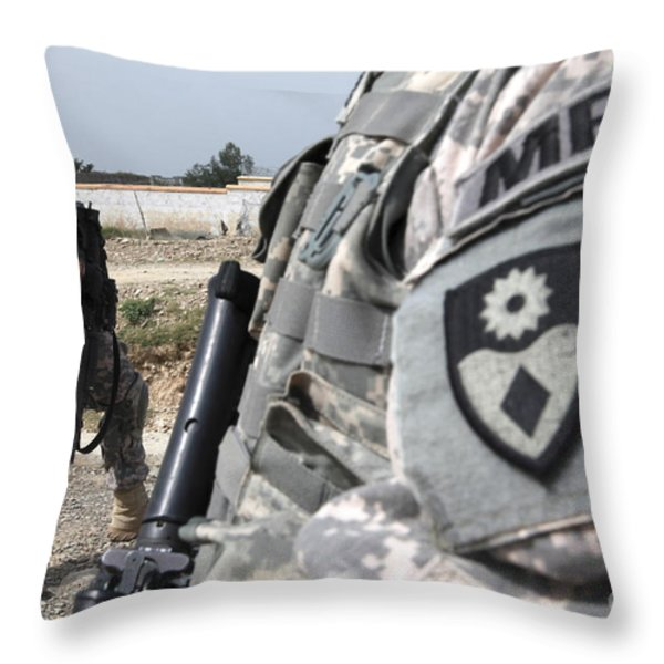 A Military Police Officer Provides Throw Pillow by Stocktrek Images