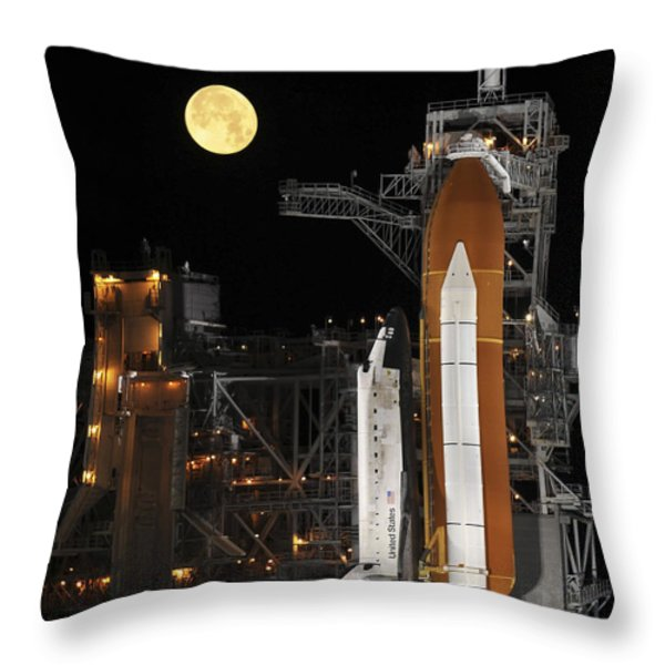 A Nearly Full Moon Sets As Space Throw Pillow by Stocktrek Images