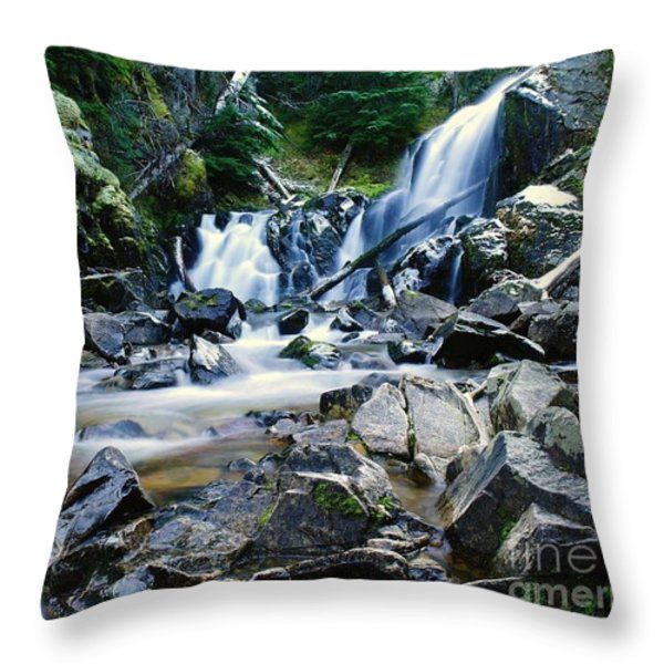 A New Way To The Waterfall Throw Pillow by Jeff  Swan