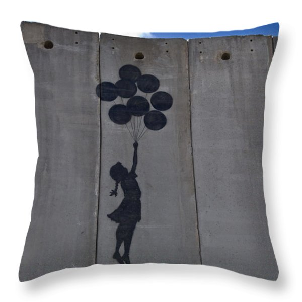 A Painting On The Israeli Separartion Throw Pillow by Keenpress