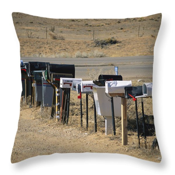 A Parade Of Mailboxes On The Outskirts Throw Pillow by Stephen St. John