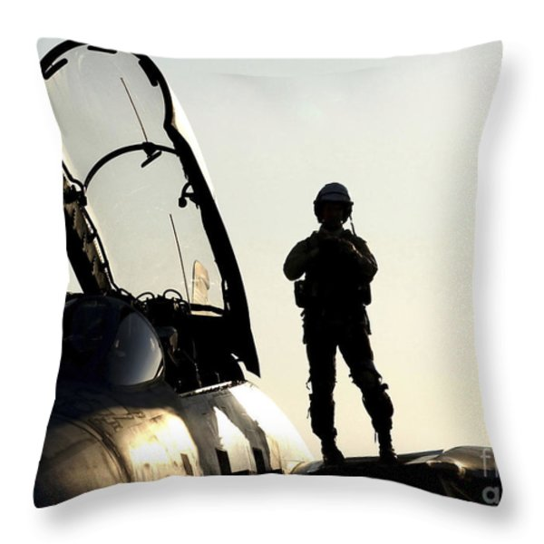 A Pilot Prepares To Enter His F-14b Throw Pillow by Stocktrek Images