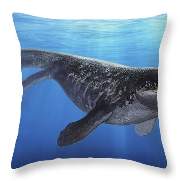 A Prognathodon Saturator Swimming Throw Pillow by Sergey Krasovskiy