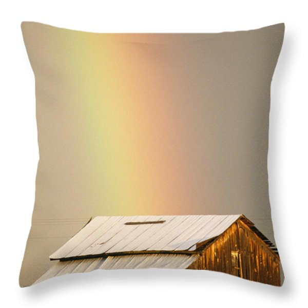 A Rainbow Arches From The Sky Onto Throw Pillow by Michael S. Lewis