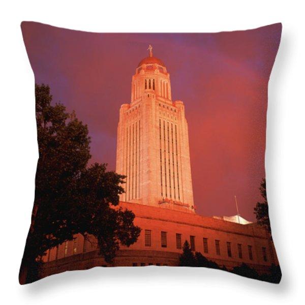 A Rainbow Shines Over The Nebraska Throw Pillow by Joel Sartore