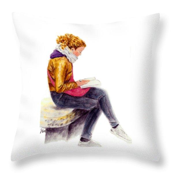 A Reading Girl In Milan Throw Pillow by Jingfen Hwu