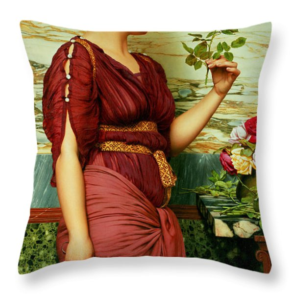 A Red Rose   Throw Pillow by John William Godward