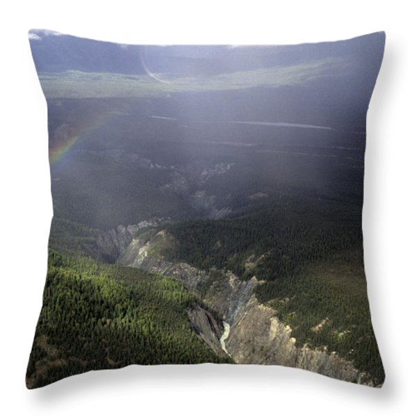 A River Cuts Through A Gorge In Alaska Throw Pillow by Stacy Gold