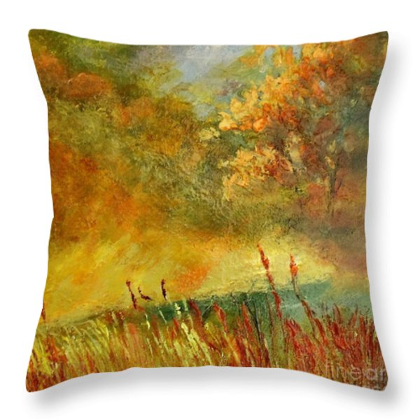 A River Runs Through Throw Pillow by Madeleine Holzberg