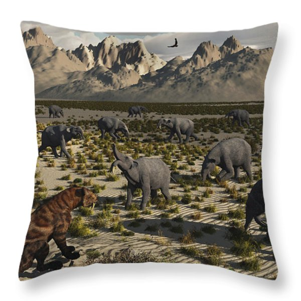 A Sabre-toothed Tiger Stalks A Herd Throw Pillow by Mark Stevenson