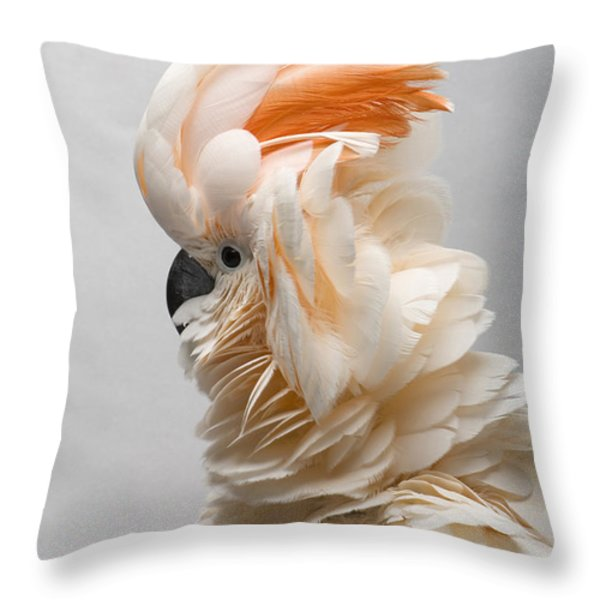 A Salmon-crested Cockatoo Throw Pillow by Joel Sartore