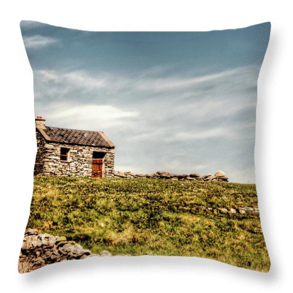 A Shack on the Aran Islands Throw Pillow by Natasha Bishop