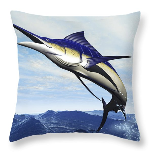 A Sleek Blue Marlin Bursts Throw Pillow by Corey Ford