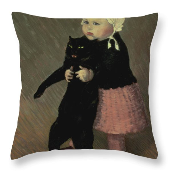 A Small Girl With A Cat Throw Pillow by TA Steinlen
