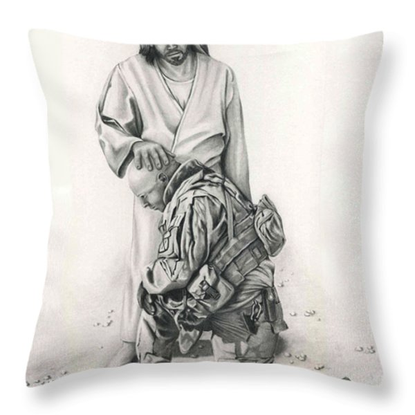 A Soldier's Prayer Throw Pillow by Linda Bissett