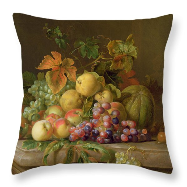 A Still Life Of Melons Grapes And Peaches On A Ledge Throw Pillow by Jakob Bogdani