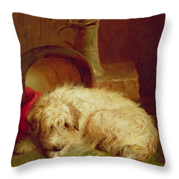A Terrier Throw Pillow by John Fitz Marshall