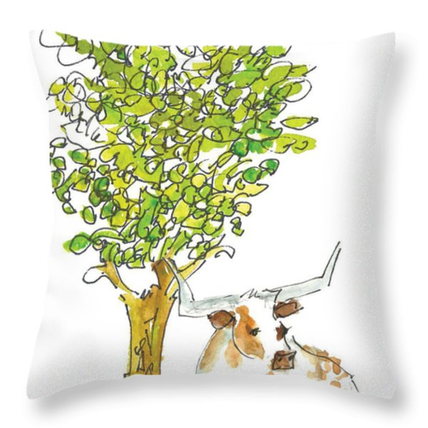 A Texas Welcome Throw Pillow by Kathleen McElwaine