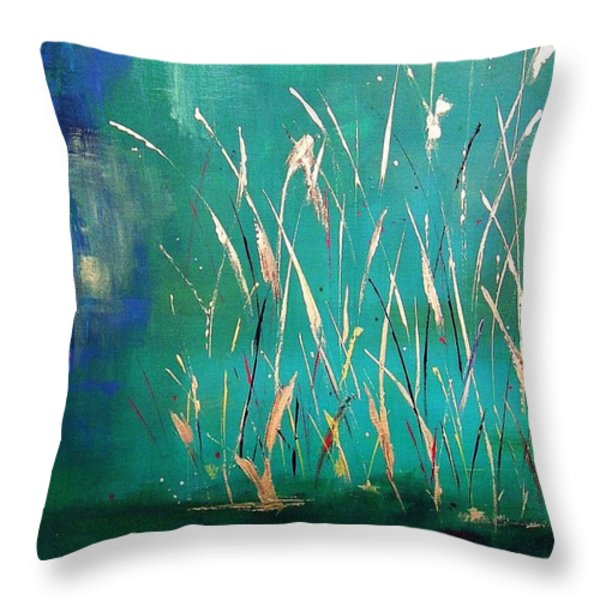 A Touch Of Teal Throw Pillow by Frances Marino