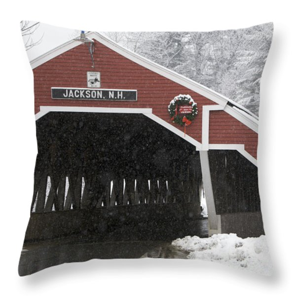 A Traditional Covered Bridge On A Snowy Throw Pillow by Tim Laman