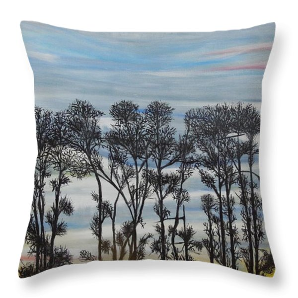 A Treeline Silhouette Throw Pillow by Marilyn  McNish