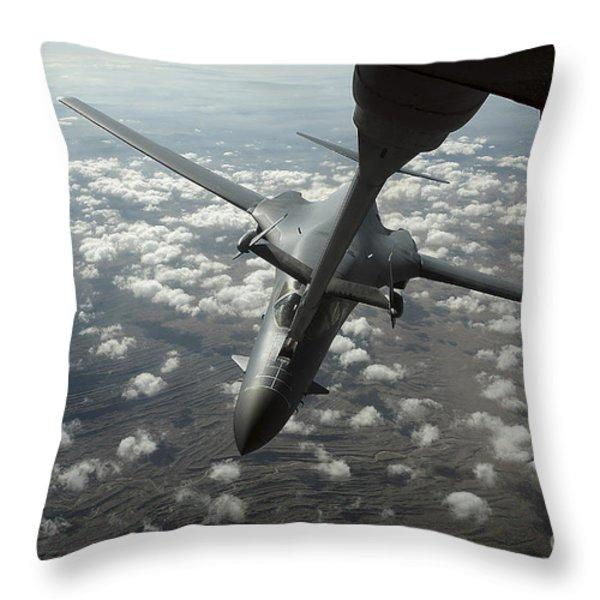 A U.s. Air Force Kc-10 Refuels A B-1b Throw Pillow by Stocktrek Images