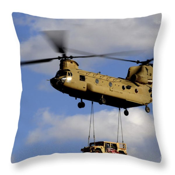 A U.s. Army Ch-47 Chinook Helicopter Throw Pillow by Stocktrek Images