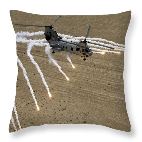 A U.s. Marine Corps Ch-46 Sea Knight Throw Pillow by Stocktrek Images