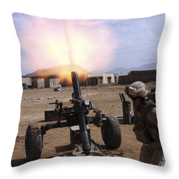 A U.s. Marine Corps Gunner Fires Throw Pillow by Stocktrek Images