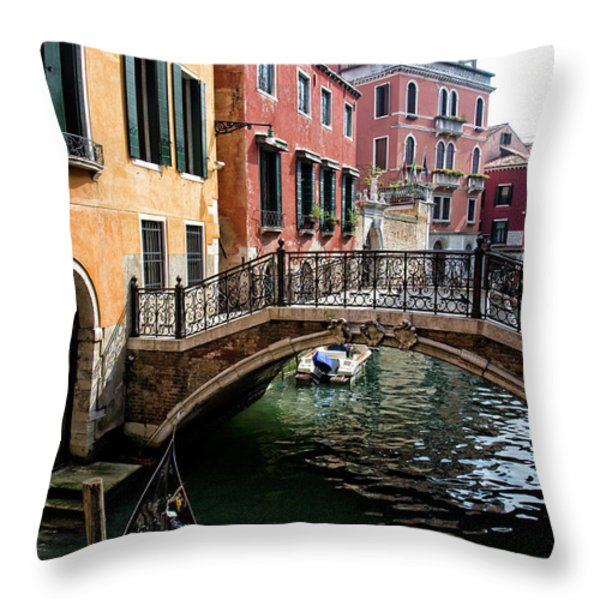 A Venetian Canal Throw Pillow by Michelle Sheppard
