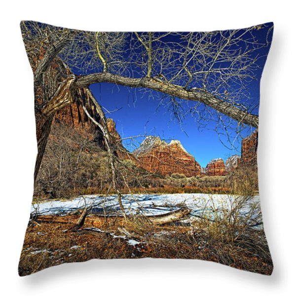 A View In Zion Throw Pillow by Christopher Holmes