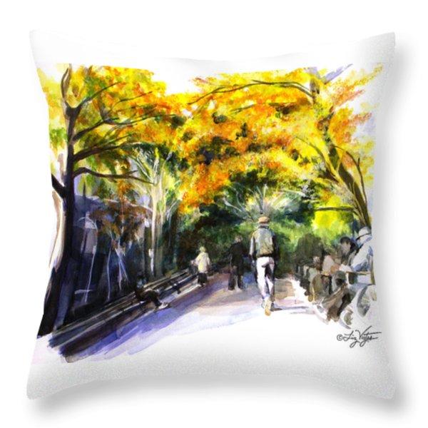 A Walk Through The Park Throw Pillow by Liz Viztes