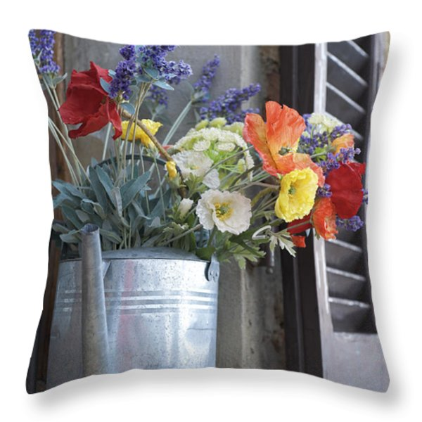 A Water Pitcher Holding Flowers Throw Pillow by Keenpress