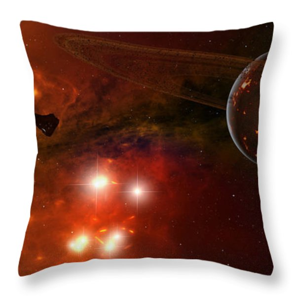 A Young Ringed Planet With Glowing Lava Throw Pillow by Frieso Hoevelkamp