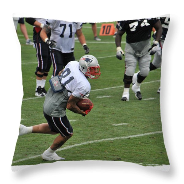 Aaron Hernandez Throw Pillow by Mike Martin