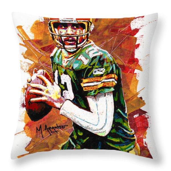 Aaron Rodgers Throw Pillow by Maria Arango