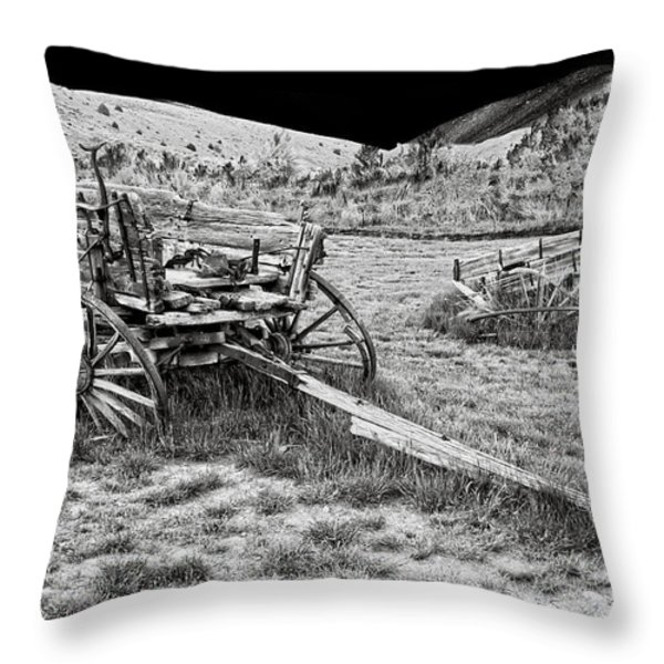 ABANDONED WAGONS of BANNACK MONTANA GHOST TOWN Throw Pillow by Daniel Hagerman
