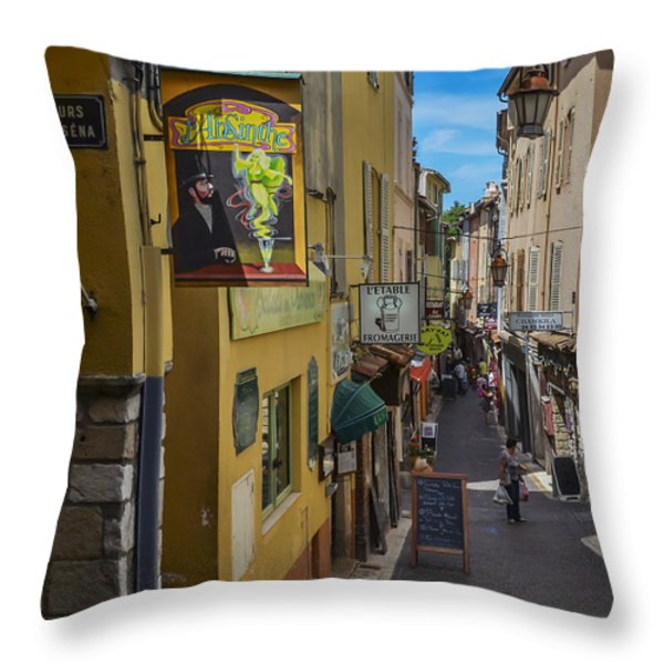 Absinthe In Antibes Throw Pillow by Allen Sheffield