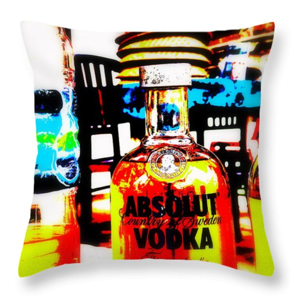 Absolut Gasoline Refills for Bali Bikes Throw Pillow by Funkpix Photo Hunter