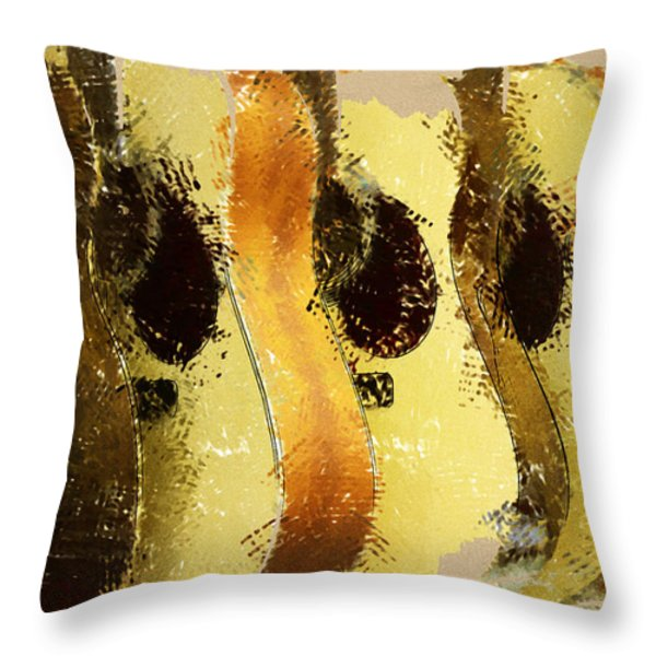 Abstract Acoustic Guitars Throw Pillow by David G Paul