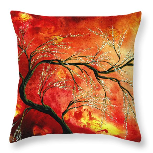 Abstract Art Floral Tree Landscape Painting FRESH BLOSSOMS by MADART Throw Pillow by Megan Duncanson
