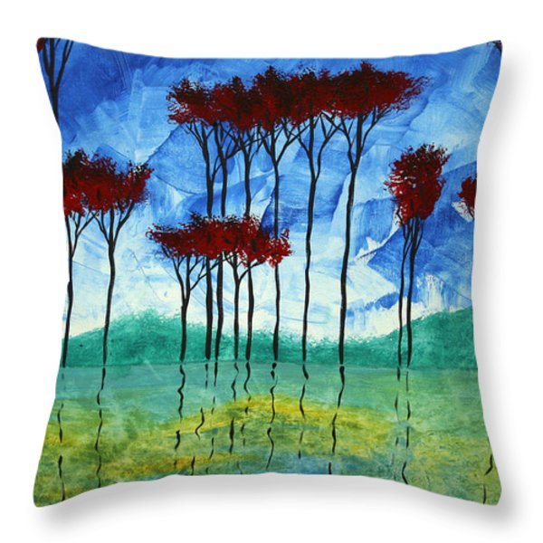 Abstract Art Original Landscape Painting Reflective Beauty By Madart Throw Pillow by Megan Duncanson