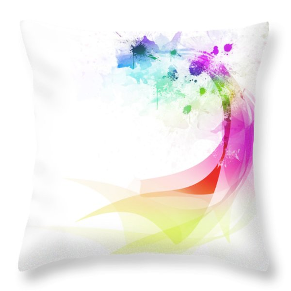 Abstract colorful curved Throw Pillow by Setsiri Silapasuwanchai
