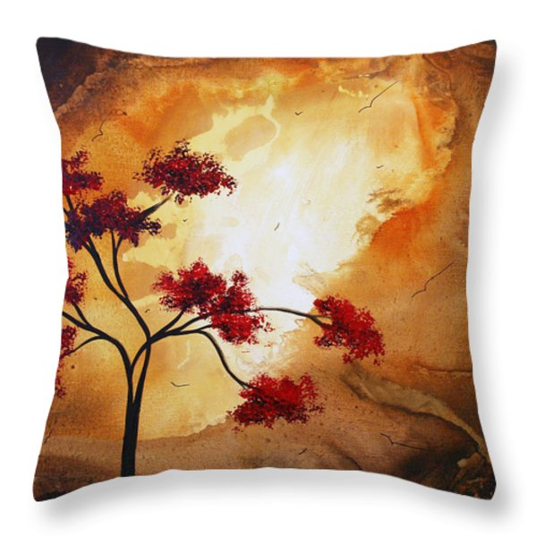 Abstract Landscape Painting EMPTY NEST 12 by MADART Throw Pillow by Megan Duncanson