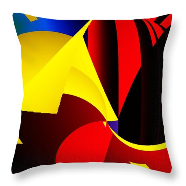 Abstract Red And Yellow Throw Pillow by David Lane