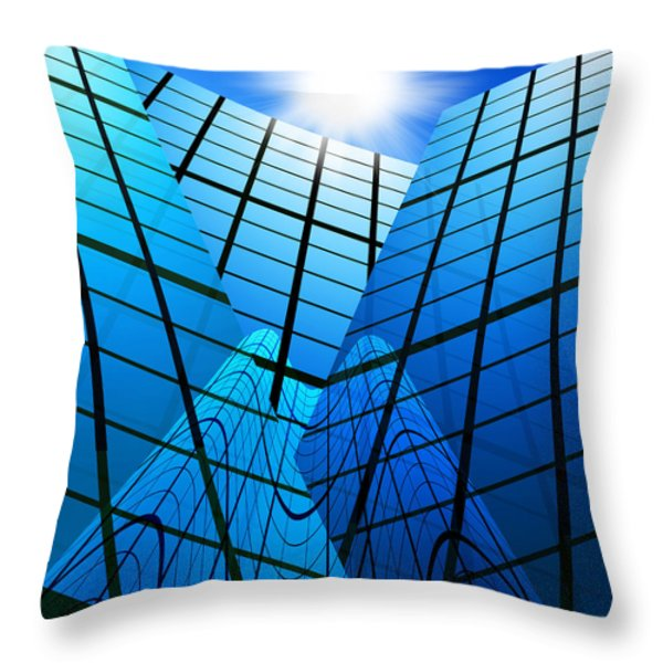 abstract skyscrapers Throw Pillow by Setsiri Silapasuwanchai