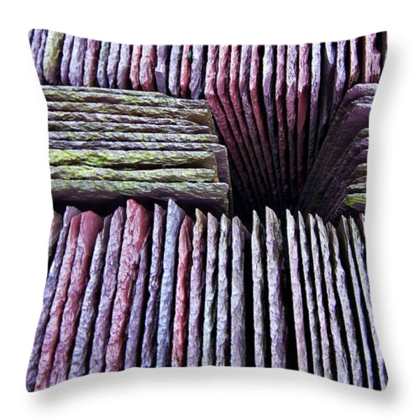 abstract slate pile Throw Pillow by Meirion Matthias