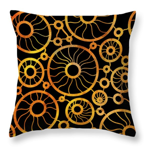 Throw Pillow featuring the painting Abstract Sunflower Field by Frank Tschakert